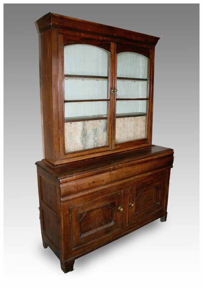 A Welsh Glazed Bookcase Or Cupboard In Oak And Mahogany Circa 1850 54x18x79 5h 650