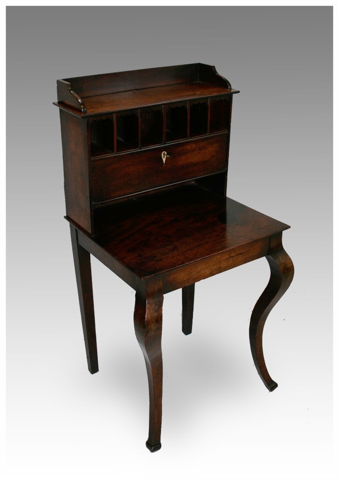 An Unusual And Pretty Gany Las Writing Table With Pigeon Holes Standing On Cabriole Legs Circa 1800 19x21x43h 495