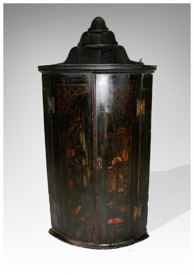A George III Japanese Lacquered Bow Front Corner Cupboard With Shaped Shelf  To Top, Circa 1760, (23x36h) £1250