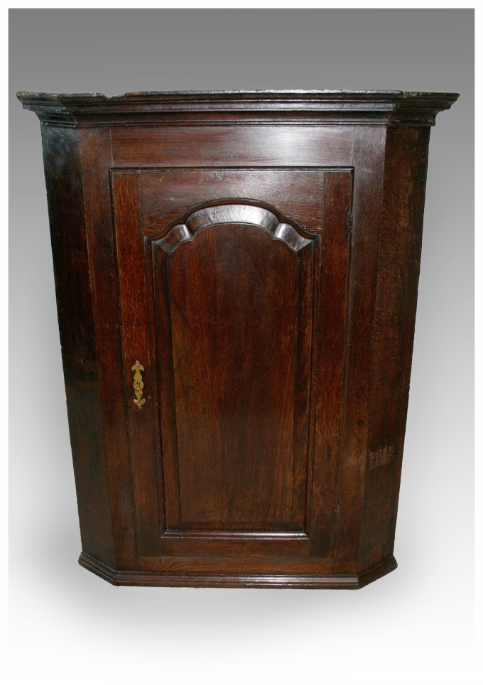 A George III Oak Corner Cupboard with shaped fielded panel. (30.5x40.5h)  £550 - Corner CupboardsMarcus Moore Antiques Sells Antique Furniture