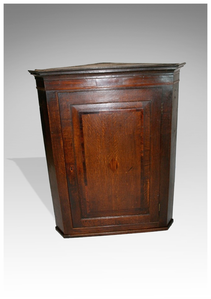 A George III Oak and Mahogany Banded Corner Cupboard with a banded fielded  panel, circa 1780. (34w x 42h) £650 - Corner CupboardsMarcus Moore Antiques Sells Antique Furniture