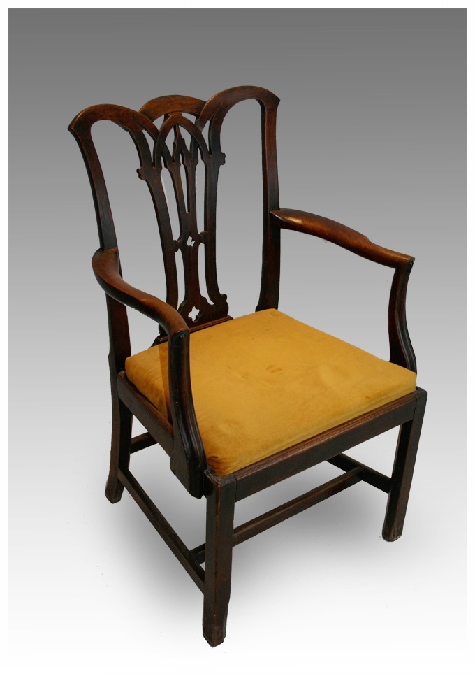 A George III Walnut Armchair In The Chippendale Style With Gothic Splat  £1250
