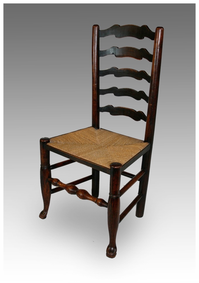 A Lancashire Wavy Ladder Back Chair, Circa 1820. £245.