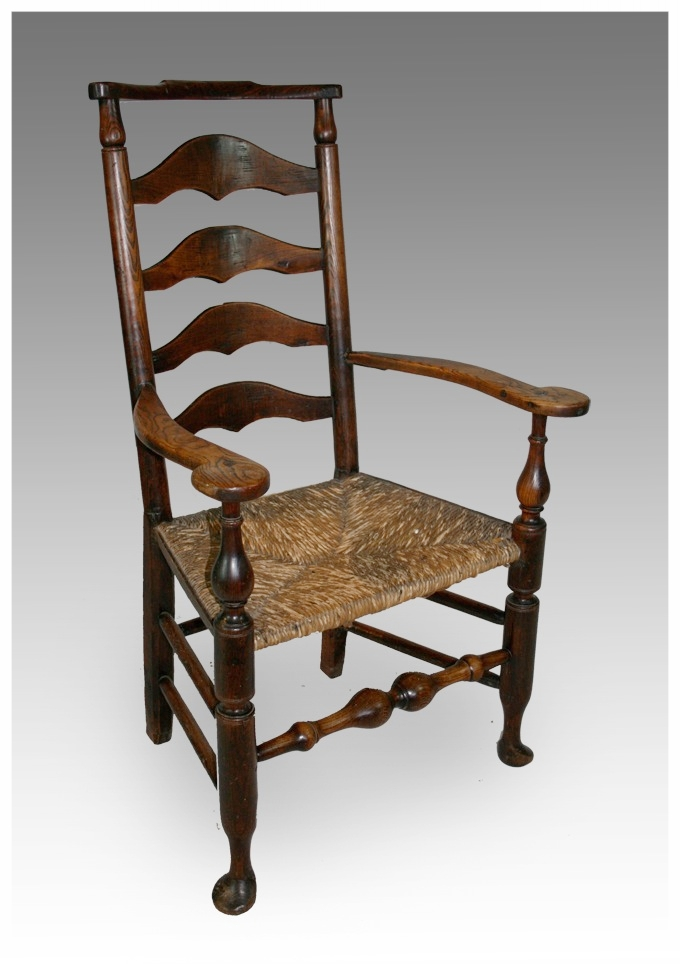 A good Country Ladder back Chair in Ash £750 - Chairs - Dining & Kitchen Marcus Moore Antiques Sells Antique